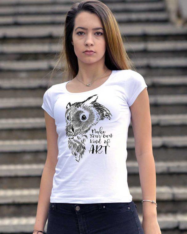 Тениска с рисуван бухал