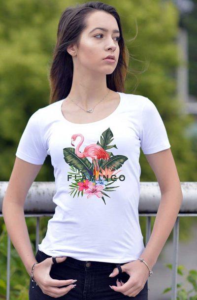 Тениска с рисувано фламинго