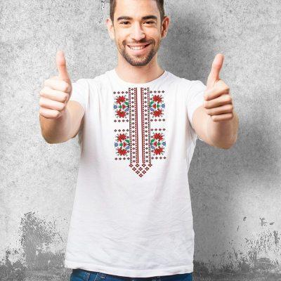 Мъжка тениска с българска шевица