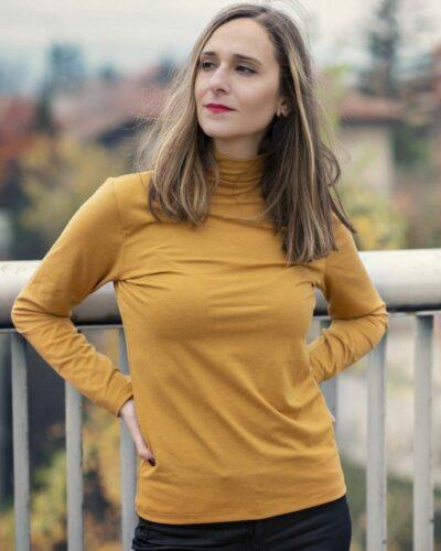 Дамско полуполо с ангора цвят горчица