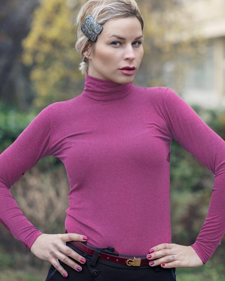 Дамско поло с ангора цвят пурпурен