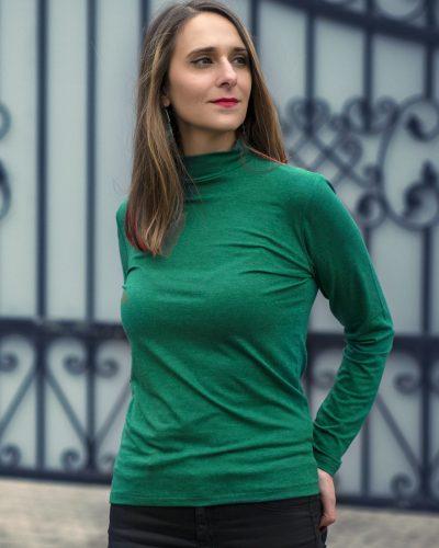 Дамско полуполо с ангора цвят коледно зелено