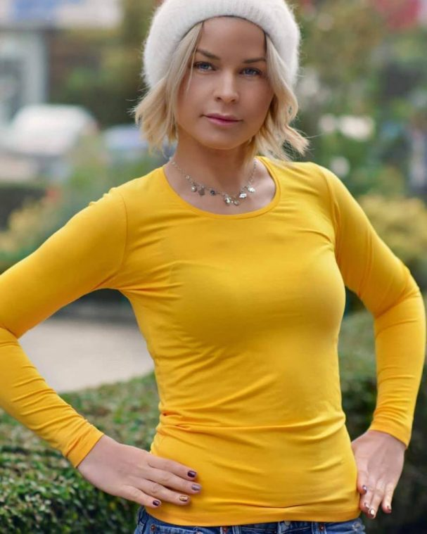 Дамска блуза в цвят горчица