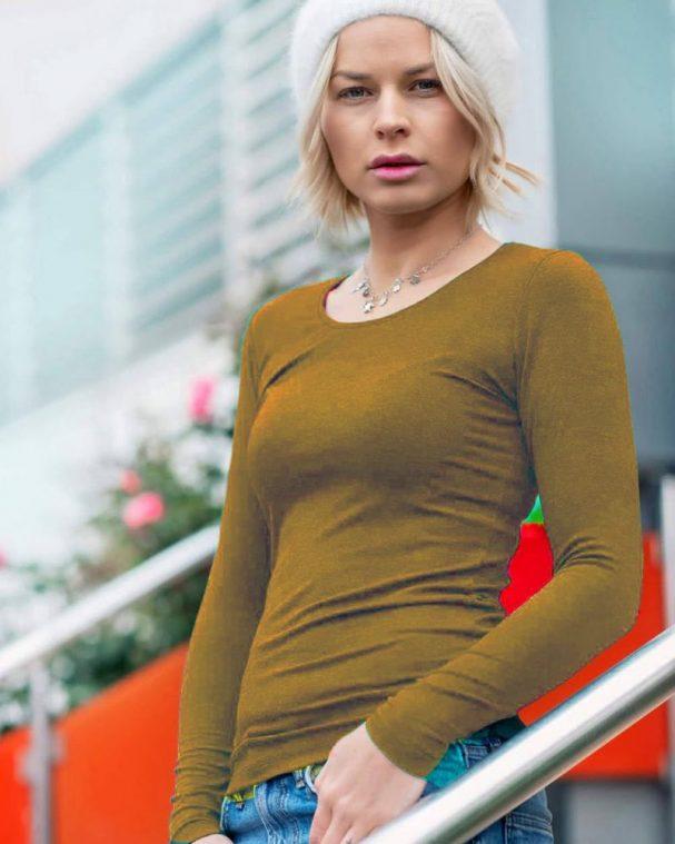 Дамска блуза с ангора цвят мушмола