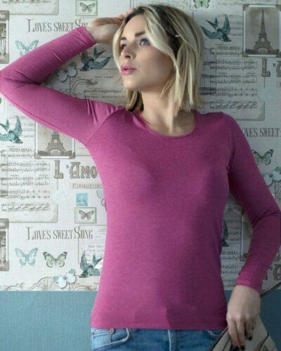 Дамска блуза с ангора пурпурен цвят