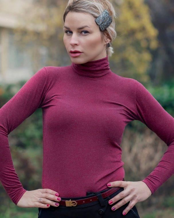 Дамско поло с ангора лилав цвят