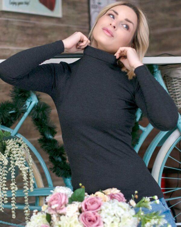 Дамско полуполо с ангора цвят черен меланж