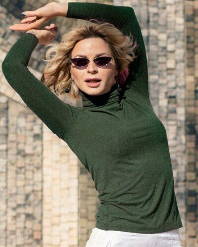 Дамско поло с ангора тъмно зелен цвят