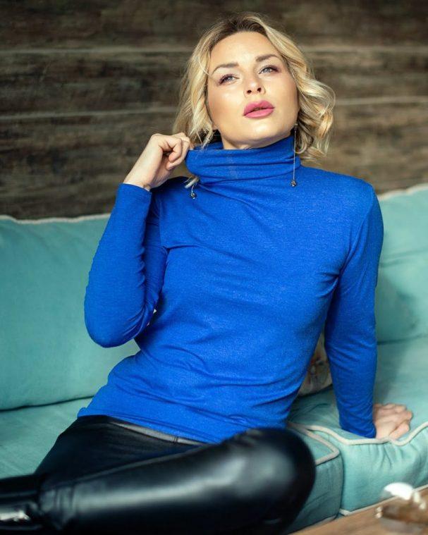 Дамско поло с ангора турско синьо