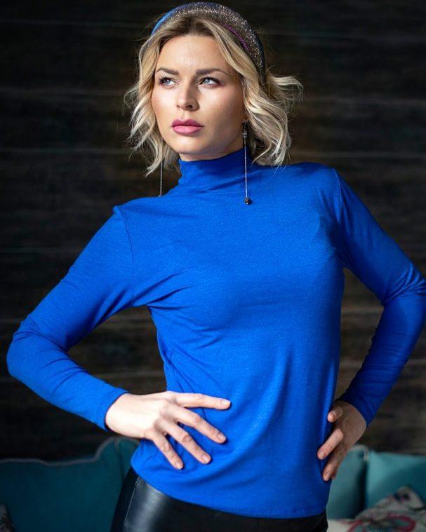 Дамско полуполо с ангора турско синьо