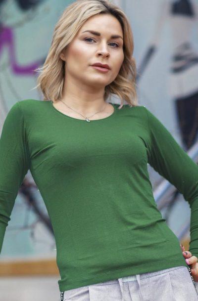 Дамска блуза с дълъг ръкав зелена