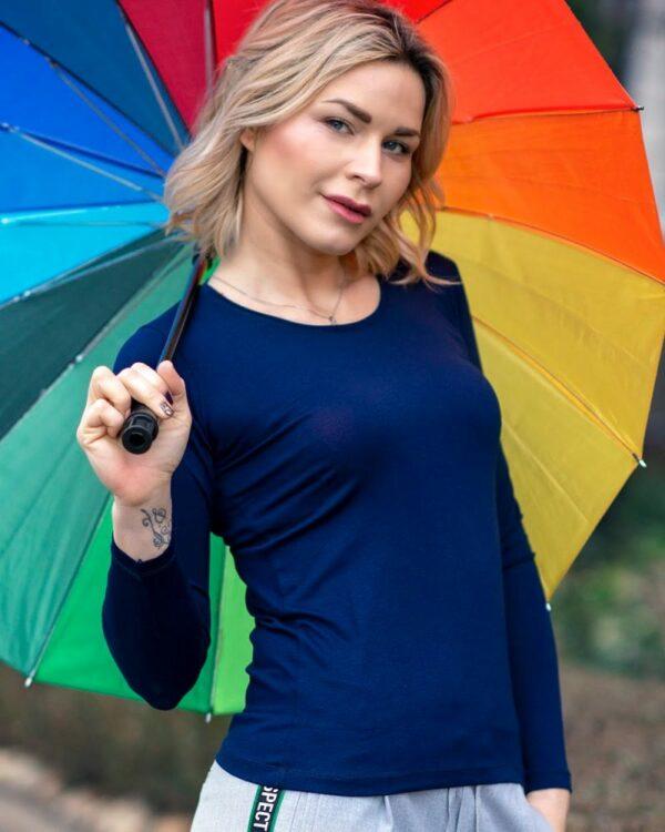 Дамска блуза цвят тъмно син