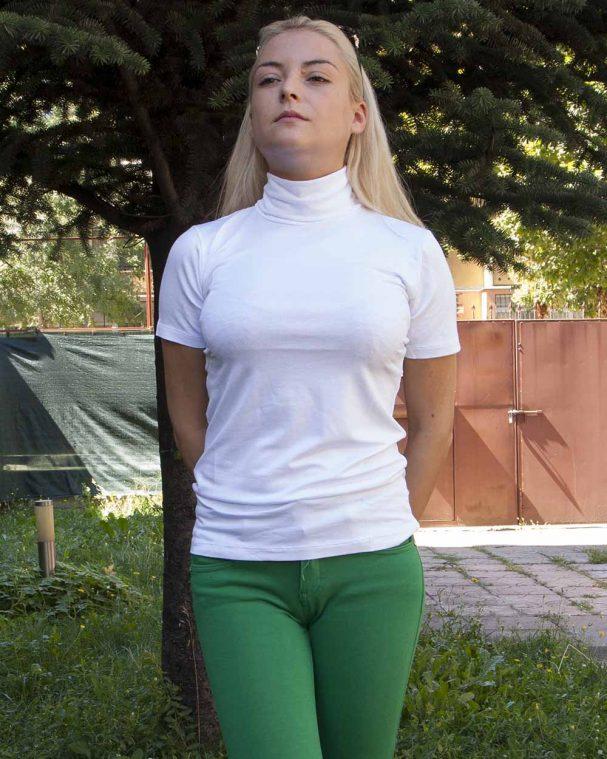 Дамско поло с къс ръкав бял цвят