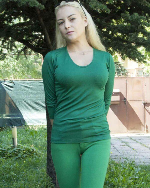 Блуза с 7/8 ръкав зелена