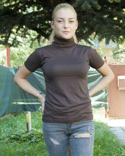 Дамско поло с къс ръкав кафяв цвят
