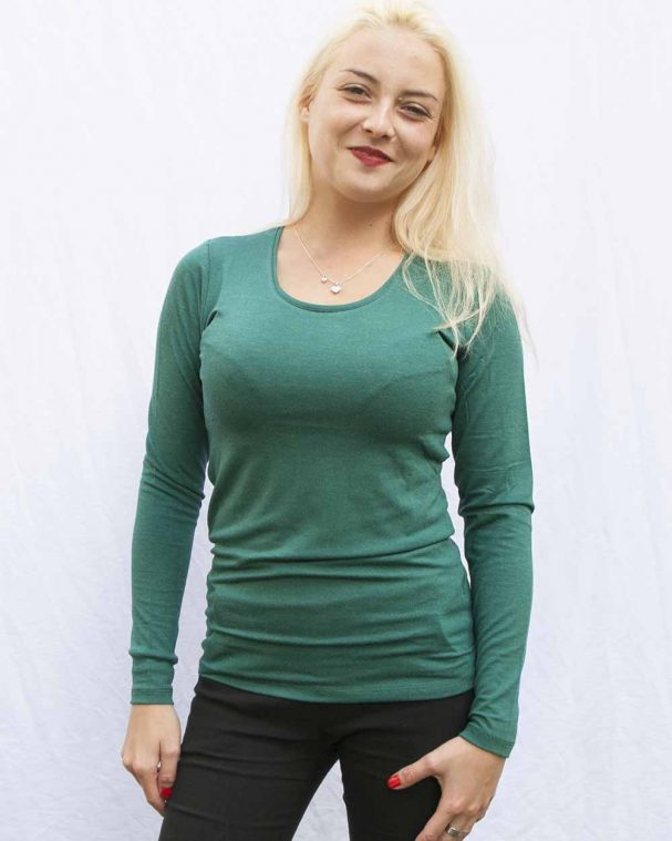 Дамска блуза с ангора коледно зелена
