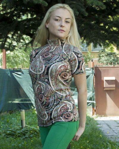 Дамско полуполо с къс ръкав с ангора Кристи