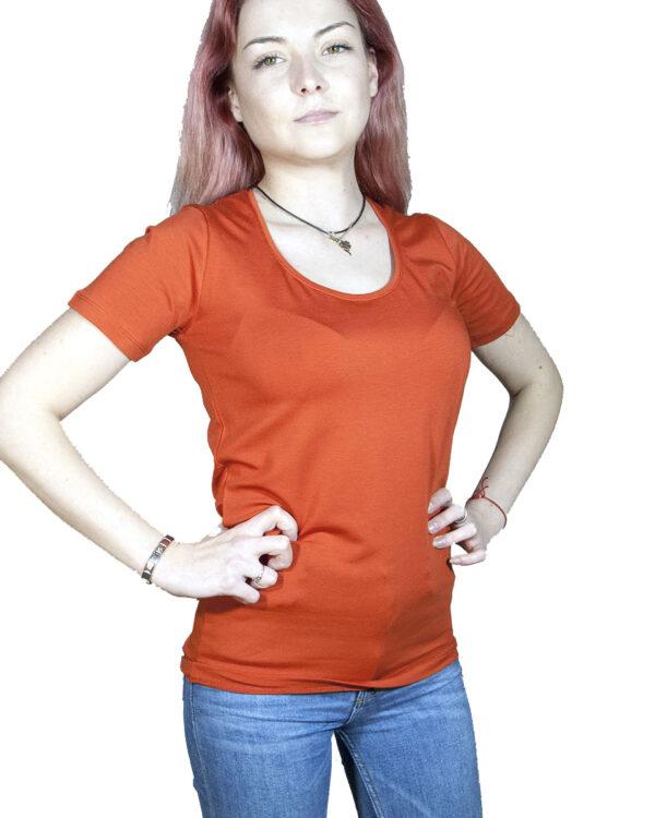 Блуза с къс ръкав керемиден цвят
