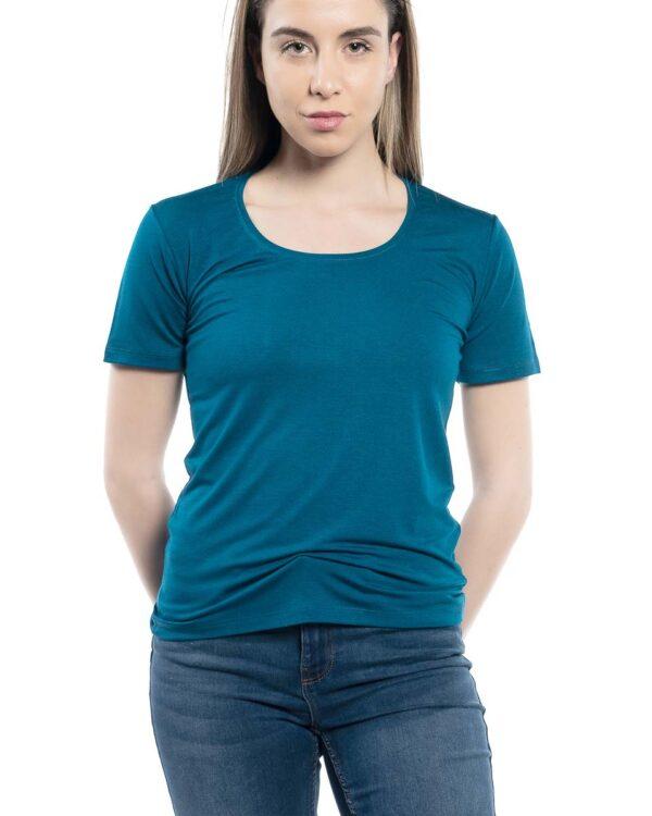 Блуза с къс ръкав петролен цвят