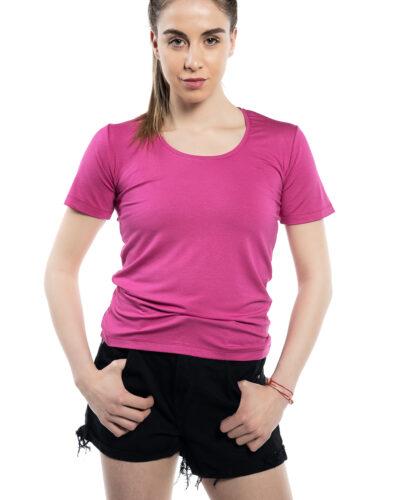 Блуза с къс ръкав цикламен цвят
