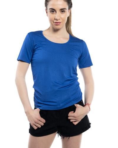 Блуза с къс ръкав турско син цвят