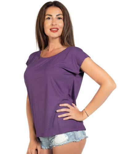 Свободна блуза цвят тъмно лилав