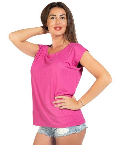 Свободна блуза цикламен цвят