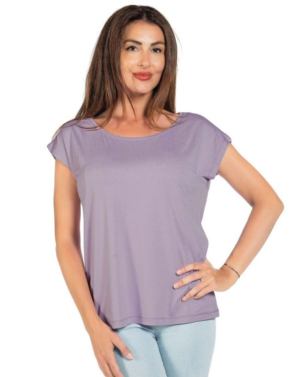 Свободна блуза цвят светло лилав