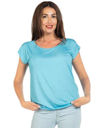 Свободна блуза цвят тюркоаз