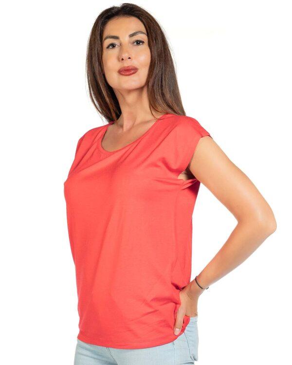 Свободна блуза цвят корал