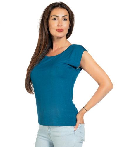 Свободна блуза петролен цвят